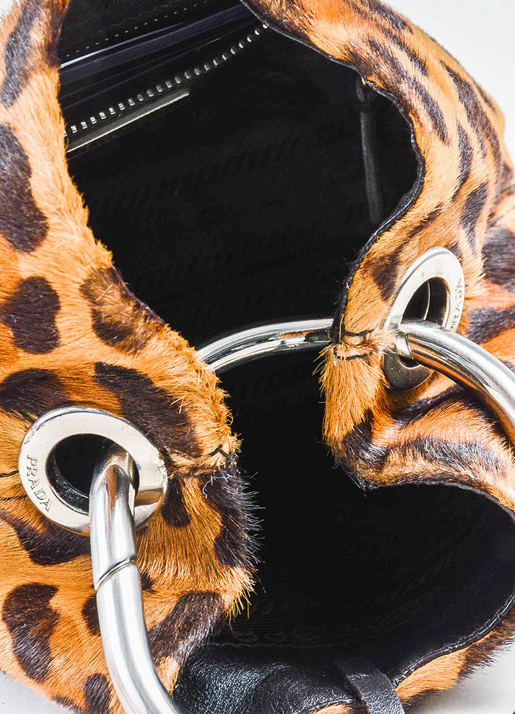 Prada Tan and Brown Pony Hair Leopard Print Mini Handbag Interior