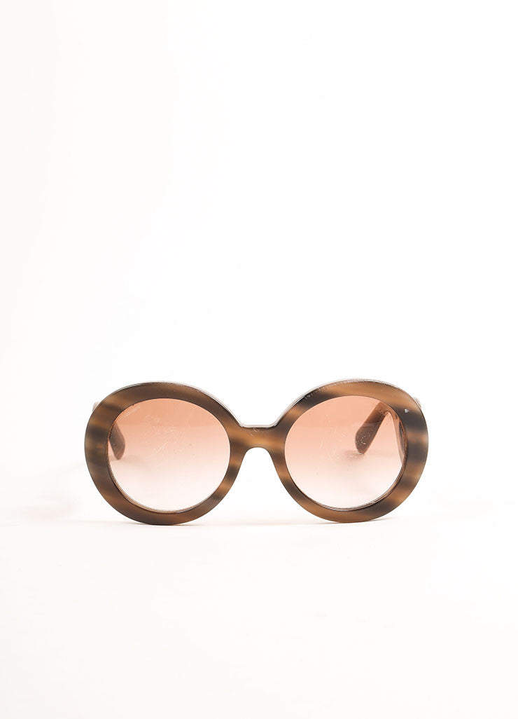 "Prada Taupe and Black Marbled Plastic ""Baroque"" Round Sunglasses Frontview"