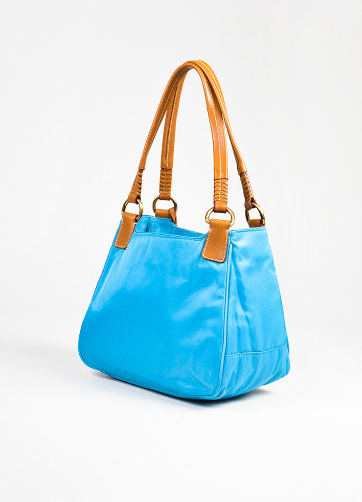 Prada Teal Blue Tan Nylon Leather Trim Tassel Top Handle Tote Bag Sideview