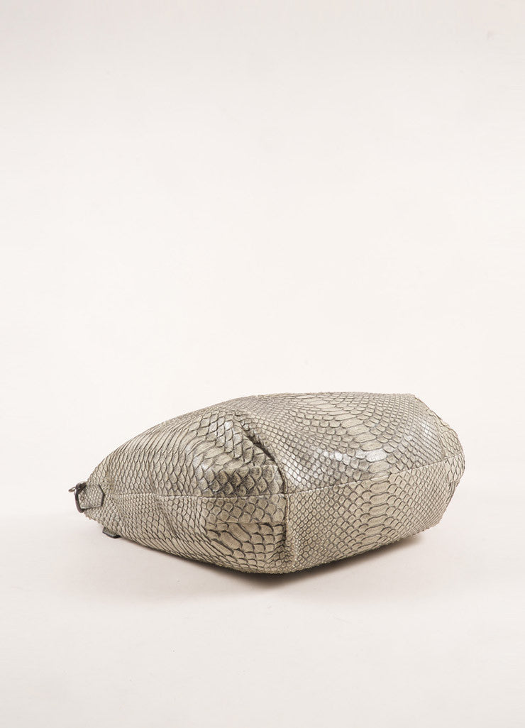 Reed Krakoff Grey Snakeskin Hobo Bag Bottom View