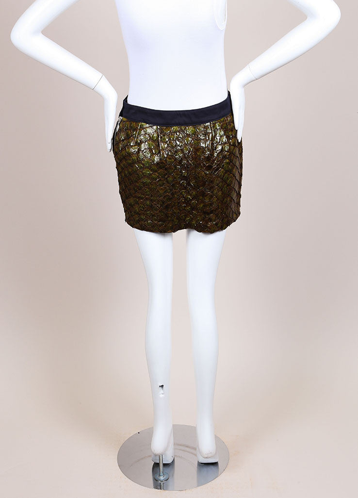Roseanna New With Tags Green and Navy Fish Scale and Cotton Paneled Mini Skirt Backview