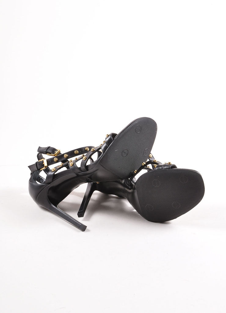Saint Laurent Black and Gold Studded Leather Strappy Sandals Outsoles