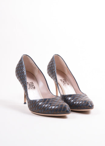 "Salvatore Ferragamo Dark Blue Leather Scalloped Scale ""Ginepro"" Pumps Frontview"