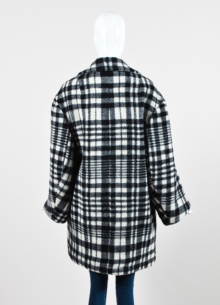 Stella McCartney Black and White Wool Plaid Oversized Pea Coat Backview