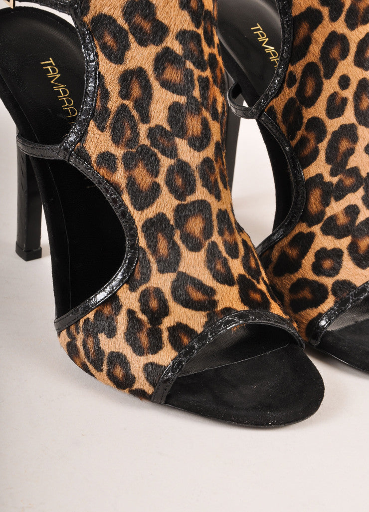 "Tamara Mellon New In Box ""Troublemaker"" Leopard Print Pony Hair Sandal Heels Detail"