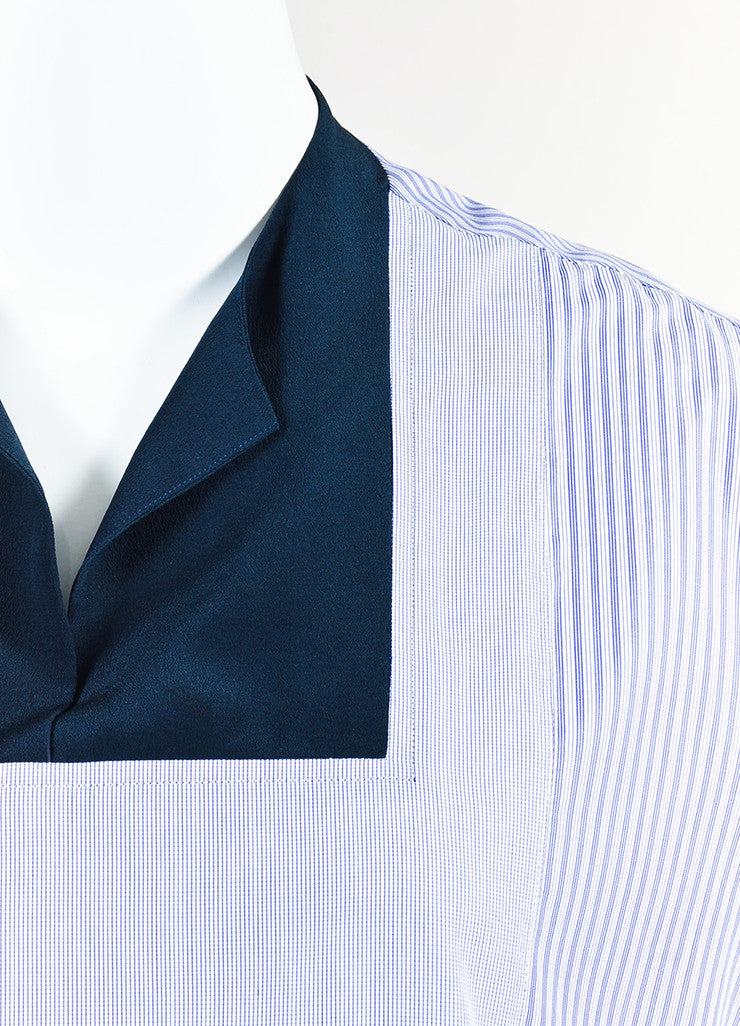 The Row Blue and White Cotton Striped Cropped Sleeve Tunic Shirt Dress Detail