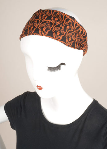 Thomas Wylde Black and Orange Silk Skull Print Headscarf Headband Frontview