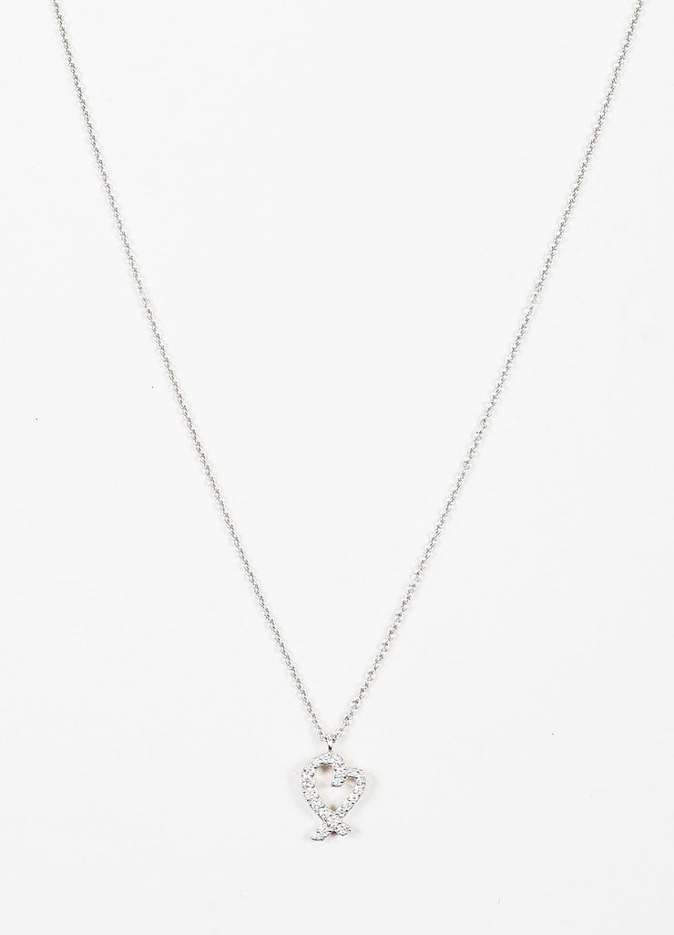 "Tiffany & Co. 18K White Gold Diamond ""Loving Heart"" Necklace Frontview"