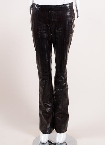 Tom Ford for Gucci Dark Brown Eel Leather Straight Leg Pants Frontview