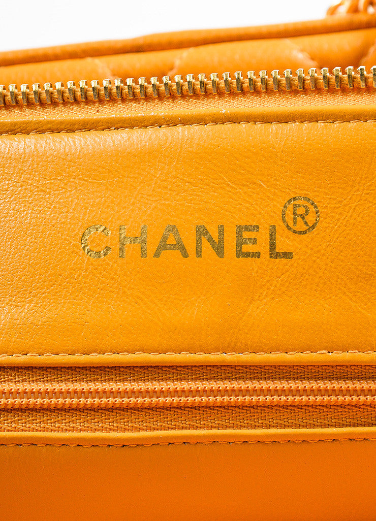 Chanel Orange Quilted Caviar Leather Shoulder Bag Brand