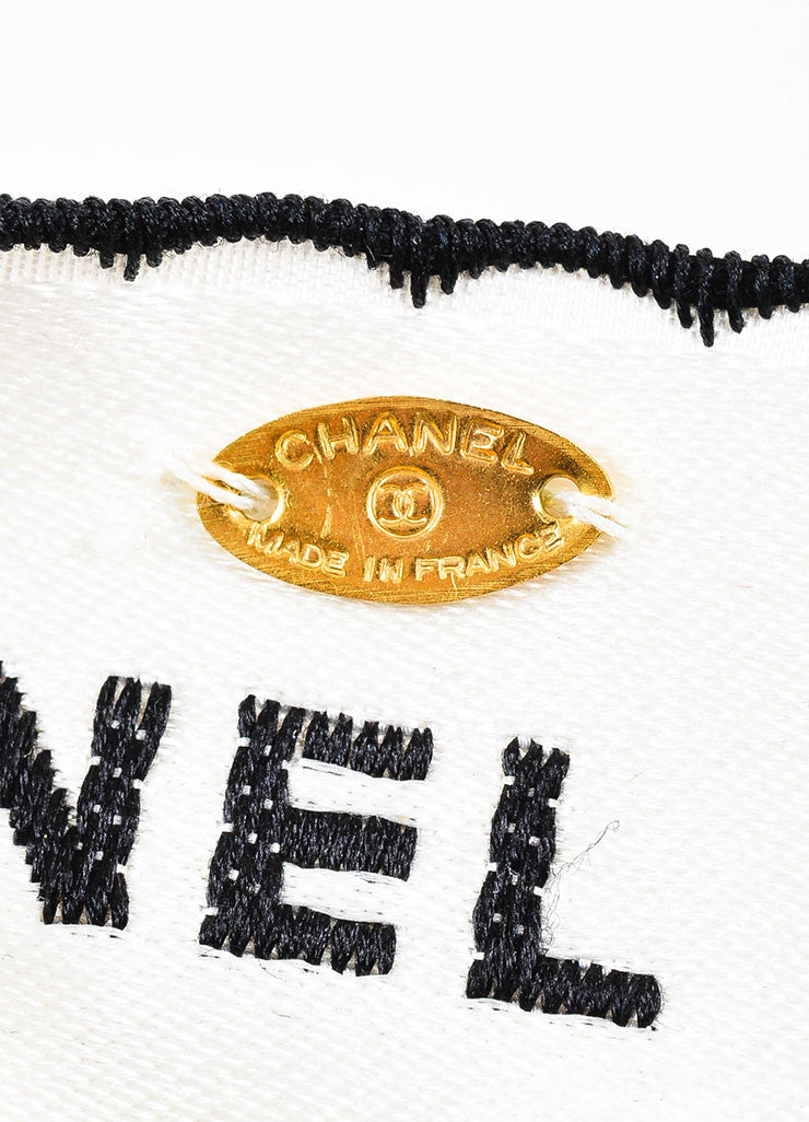 White and Black Chanel Satin Embroidered Oversized Large Pin Brooch Brand