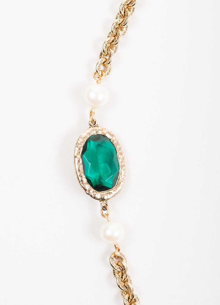 Gold Toned, Green Glass, and Faux Pearl Beaded Long Chain Necklace Detail