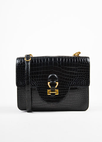 "Hermes Black Crocodile Leather ""Sandrine"" Flap Shoulder Bag Frontview"