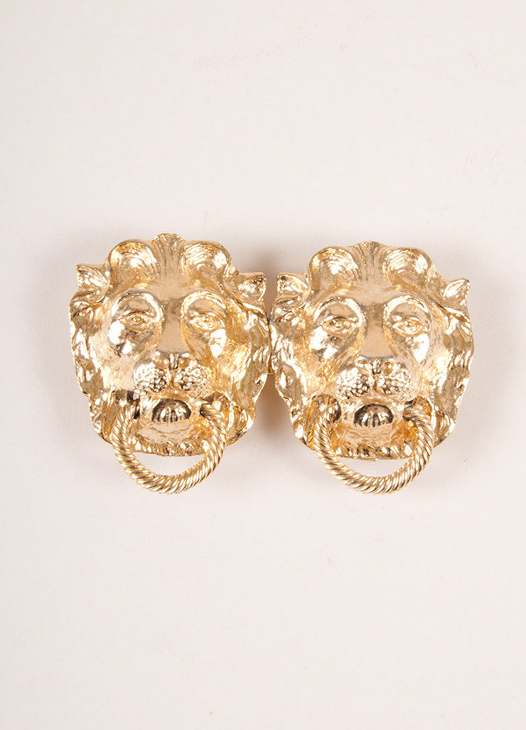Mimi Gold Toned Lion Head Door Knocker Belt Buckle Frontview