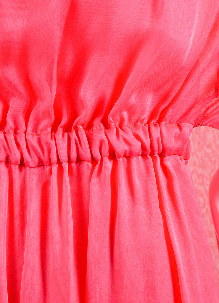 Coral Pink Valentino Silk Chiffon Cape Gown Detail