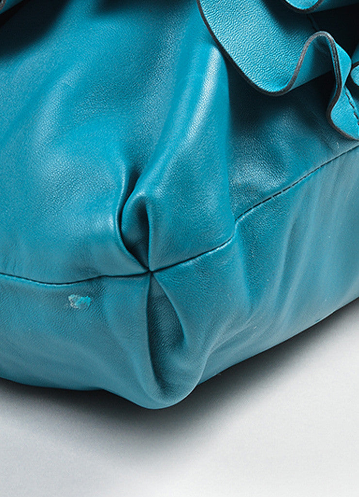 "Turquoise Leather Valentino ""Rose Vertigo"" Hobo Bag Detail"