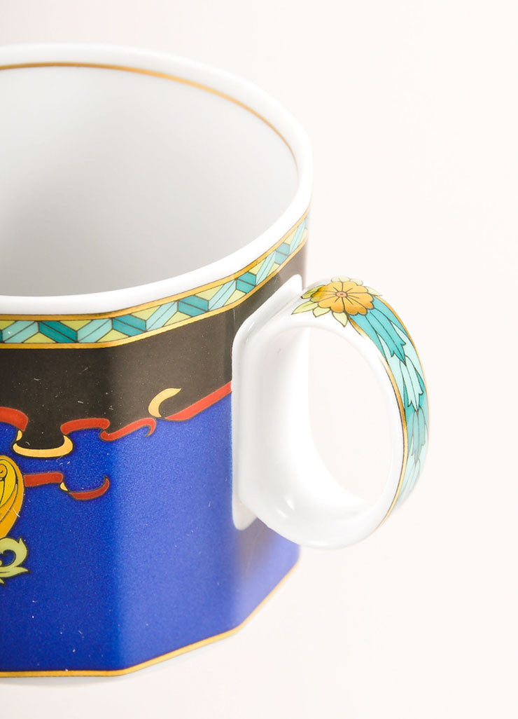 "Versace Rosenthal Multicolor Sun Scroll Print "" Le Roi Soleil"" Small Coffee Cup Detail"