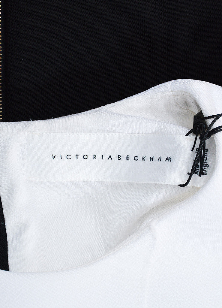 "Black White Victoria Beckham ""Denise Rib"" SL Dress Brand"