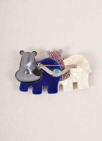 Lea Stein Multicolor Acetate Double Hippo Brooch Backview