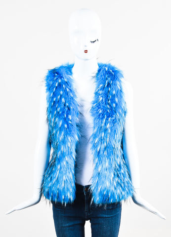 Unreal Fur Blue, White, and Black Faux Fur Vest Frontview