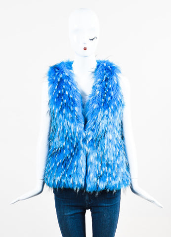 Unreal Fur Blue, White, and Black Faux Fur Vest Frontview 2
