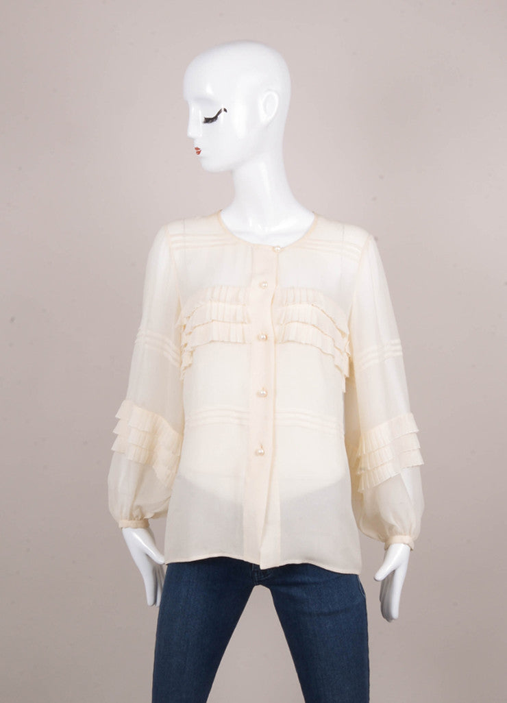 Cream Ruffle and Pintuck Trim Semi Sheer Silk Blouse With Pearl Buttons