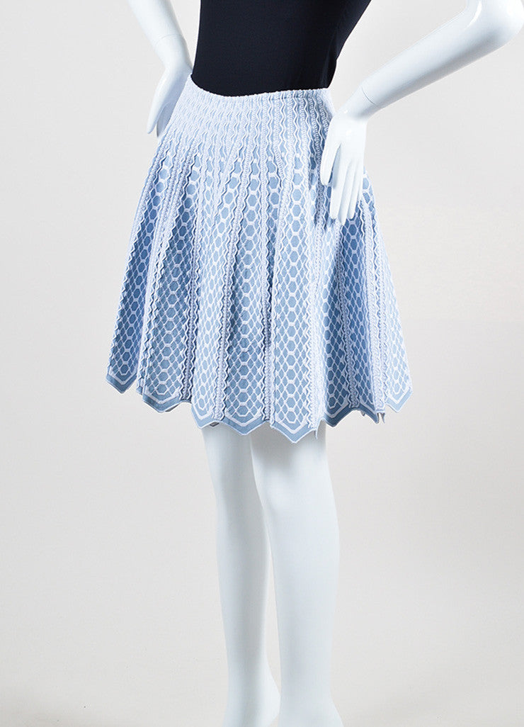 Light Blue and White Alaia Honeycomb Pattern Knit Flared Scalloped Hem Skirt Sideview