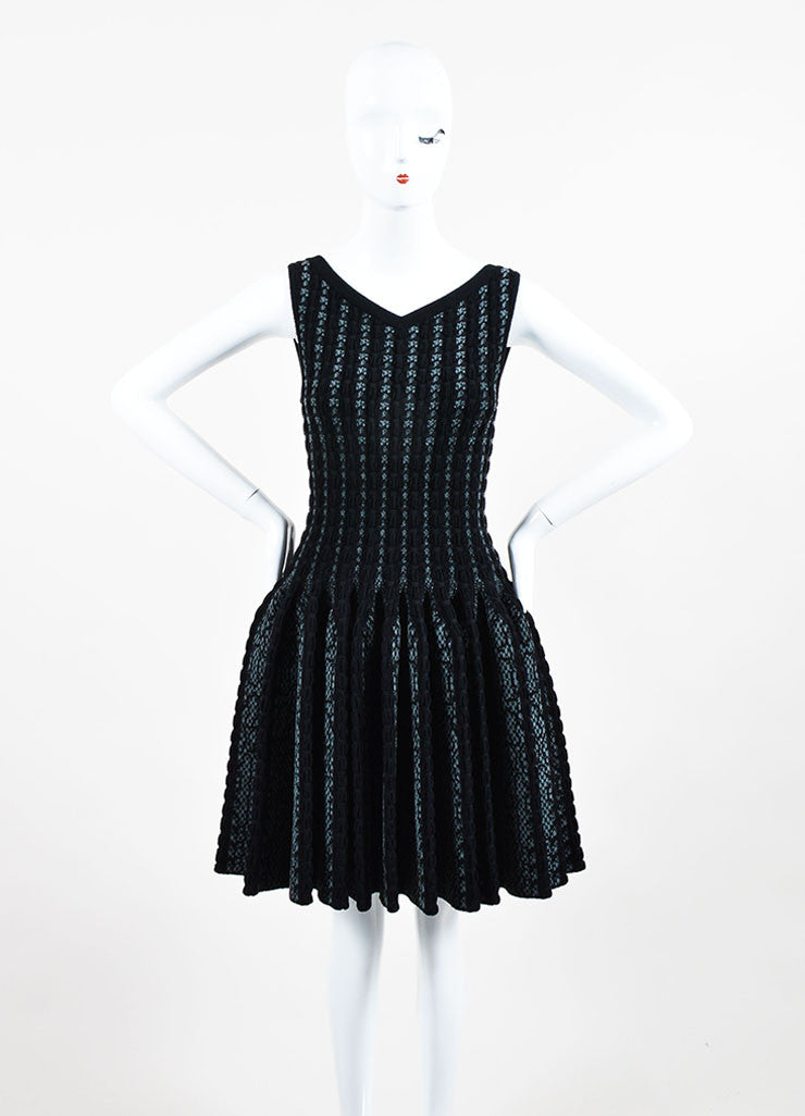 Black and Grey Alaia Wool Knit Python Pattern Sleeveless Fit & Flare Dress Frontview