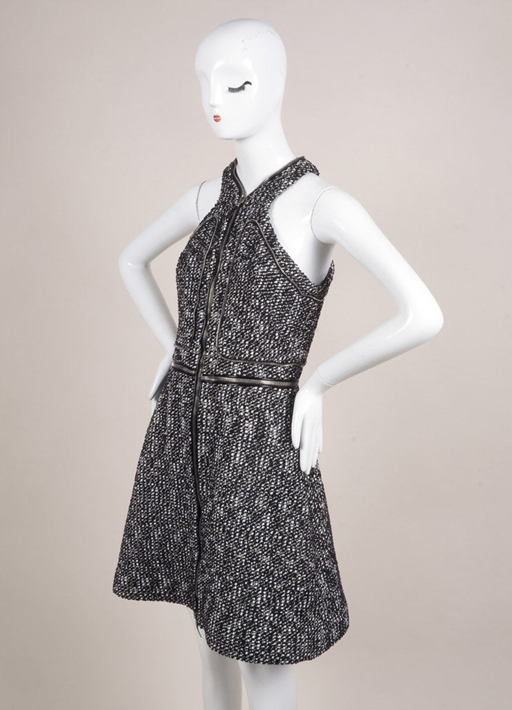 Alexander McQueen Black and White Cotton Tweed Zipper Racer Back Dress Sideview