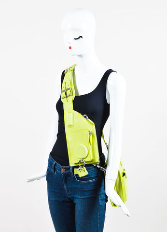 "Alexander Wang Lime Green ""Citrine"" Suede ""Runway Survival Kit"" Bag Sideview"