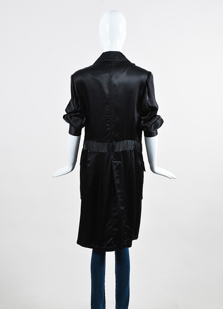 Ann Demeulemeester Black Sateen Cargo Pocket Long Coat Backview