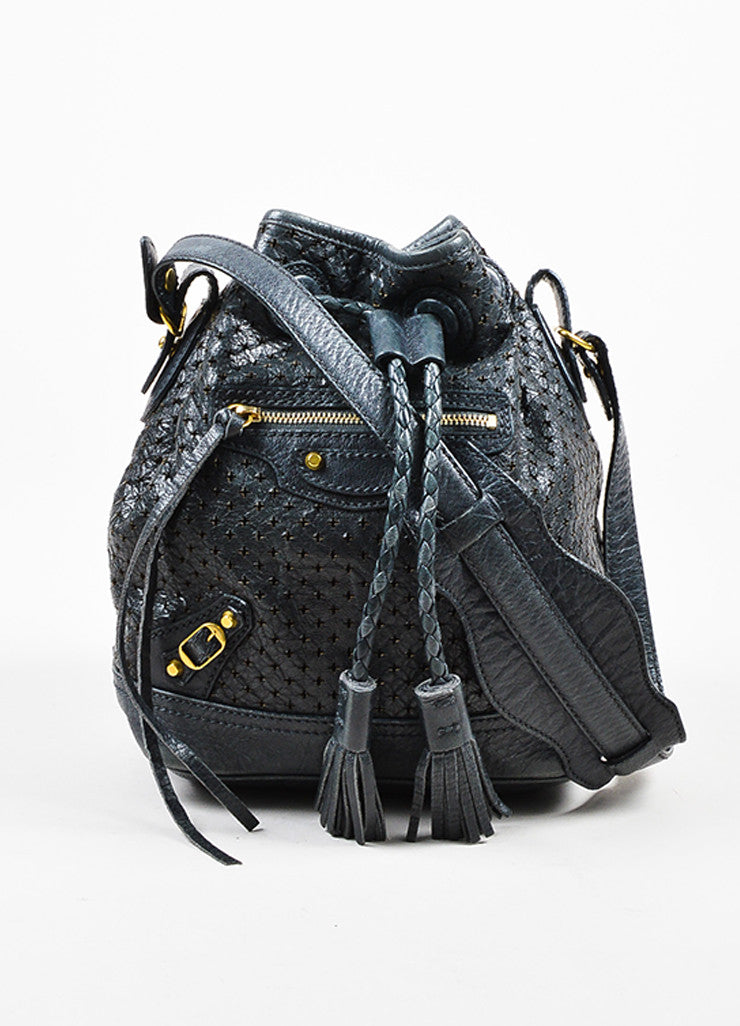 "Balenciaga Grey-Blue Leather Perforated ""Arena Cross Pampille Mini"" Bucket Bag Frontview"