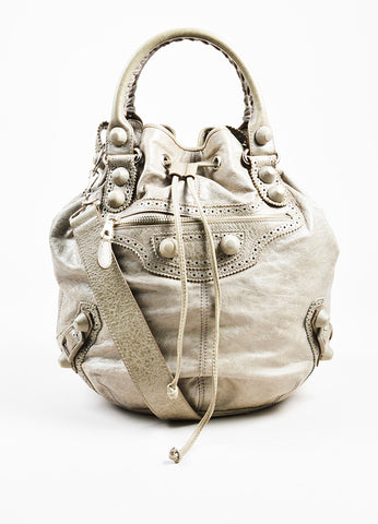 "Balenciaga Grey Taupe Lambskin Leather ""Giant Covered Brogues Pompon"" Handbag Frontview"
