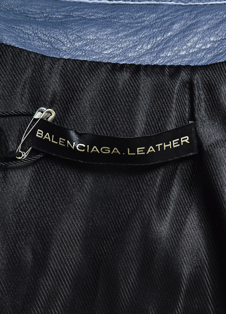 Balenciaga Grey Lamb Leather SHW Collared Motorcycle Jacket Brand