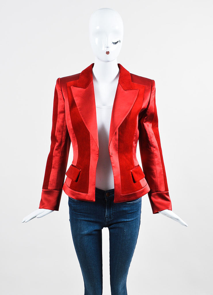 Red Balmain Silk Velvet Panel Long Sleeve Blazer Jacket Front
