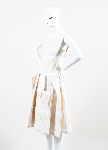 Bottega Veneta Cream and White Embroidered Stripe Belted Structured Dress Sideview