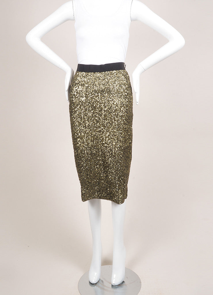 "By Malene Birger New With Tags Gold and Black Sequin Embellished ""Helic"" Skirt Frontview"