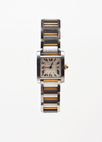 "Cartier Stainless Steel and 18K Yellow Gold ""Tank Francaise"" Bracelet Watch Frontview"