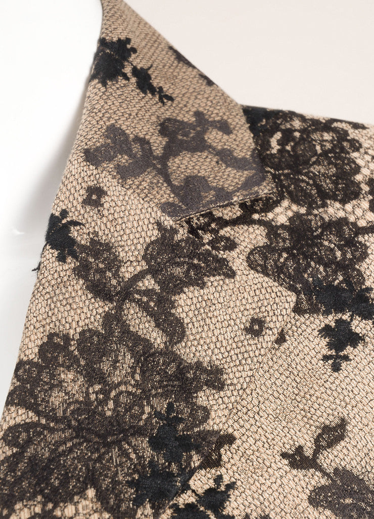 Celine Black and Nude Silk and Cotton Lace Embroidered Blazer Detail