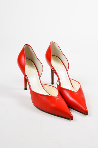 "Celine ""Bright Red"" Leather Pointed Toe 90mm D'Orsay Pumps Frontview"