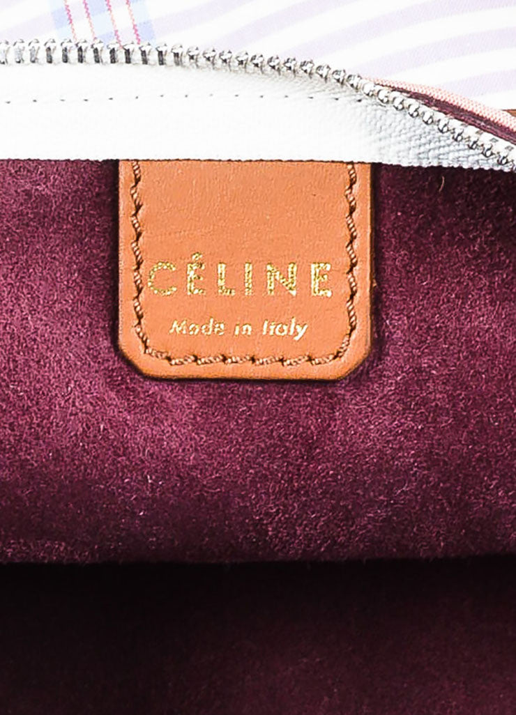 "Celine Multicolor and Brown Canvas and Leather Plaid ""Fortune Cookie"" Bag Brand"