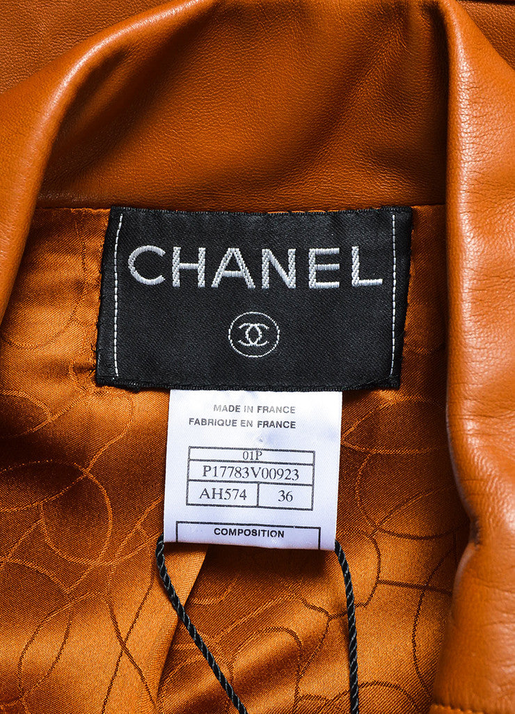 Chanel Brown Leather Asymmetrical Pocket Zip Moto Jacket Brand
