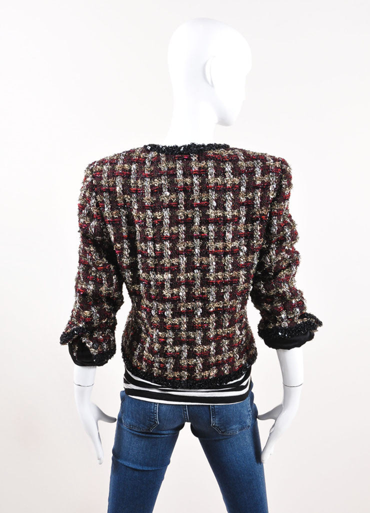 Chanel Dark Red and Black Wool Blend Metallic Woven Sequin Jacket Backview