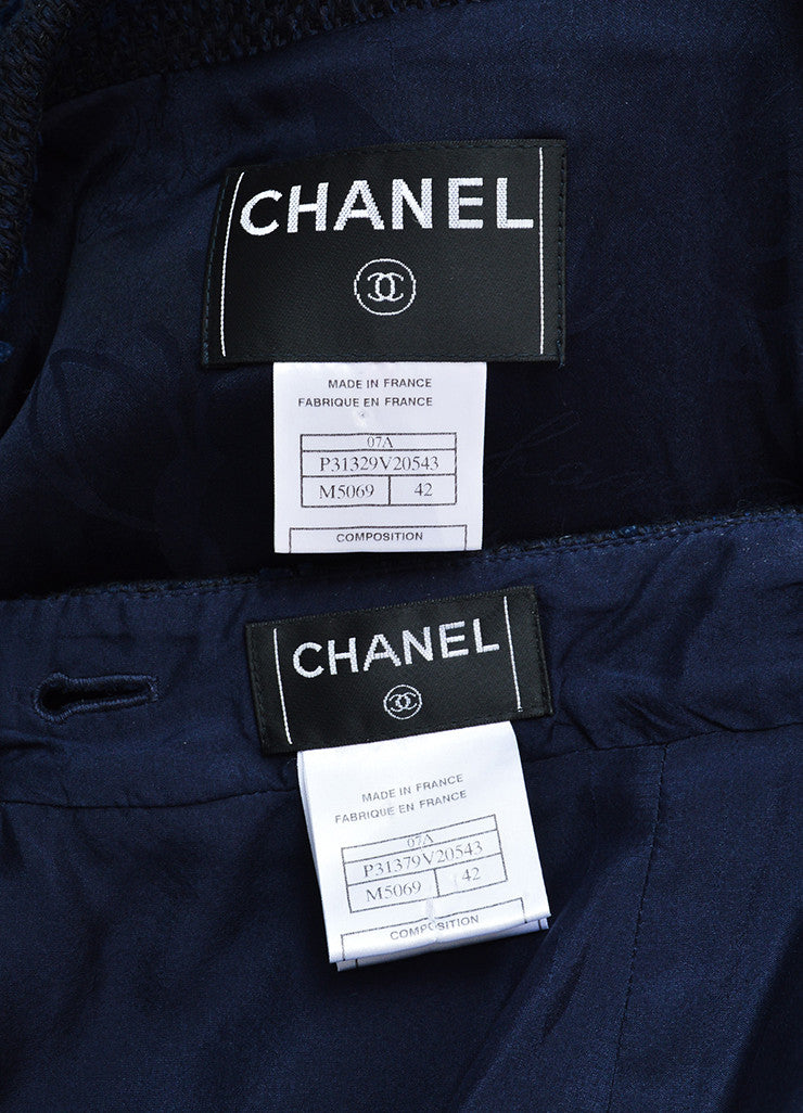 Chanel Navy Cotton and Linen Tweed Faux Pearl Button Skirt Suit Brand
