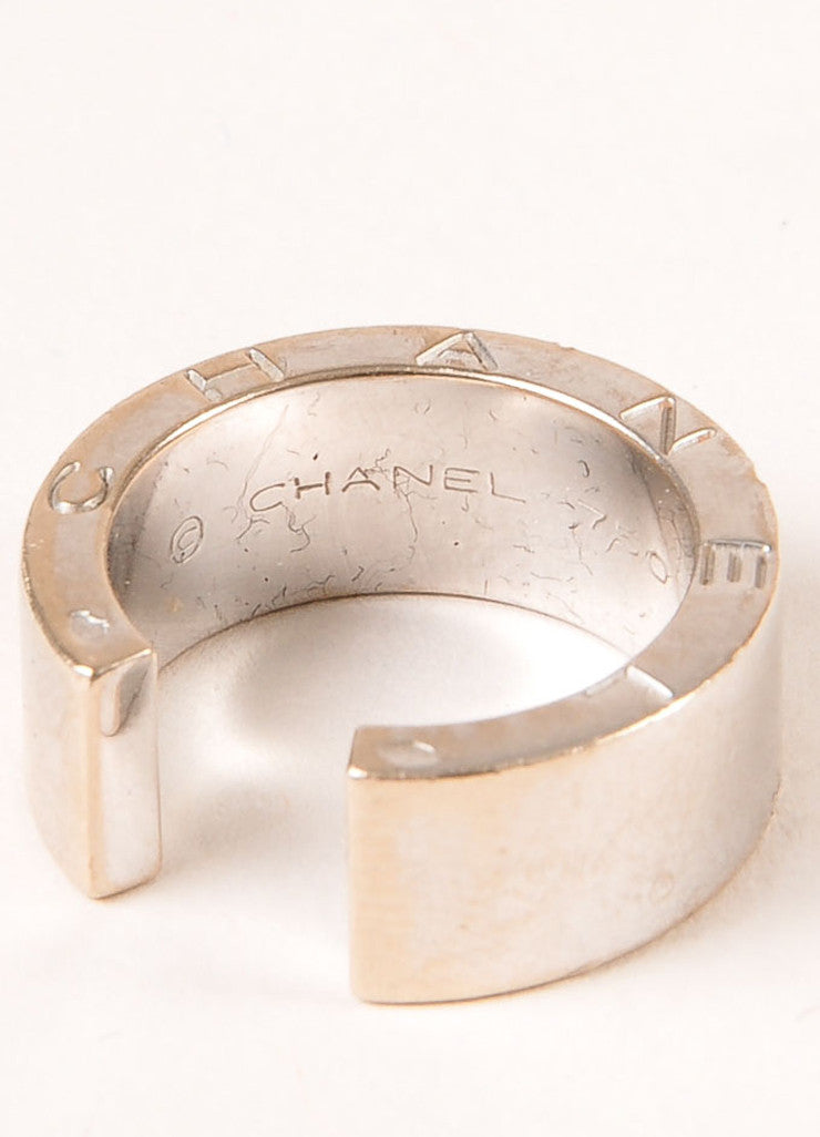 Chanel 18K White Gold Thick Open Ring Brand