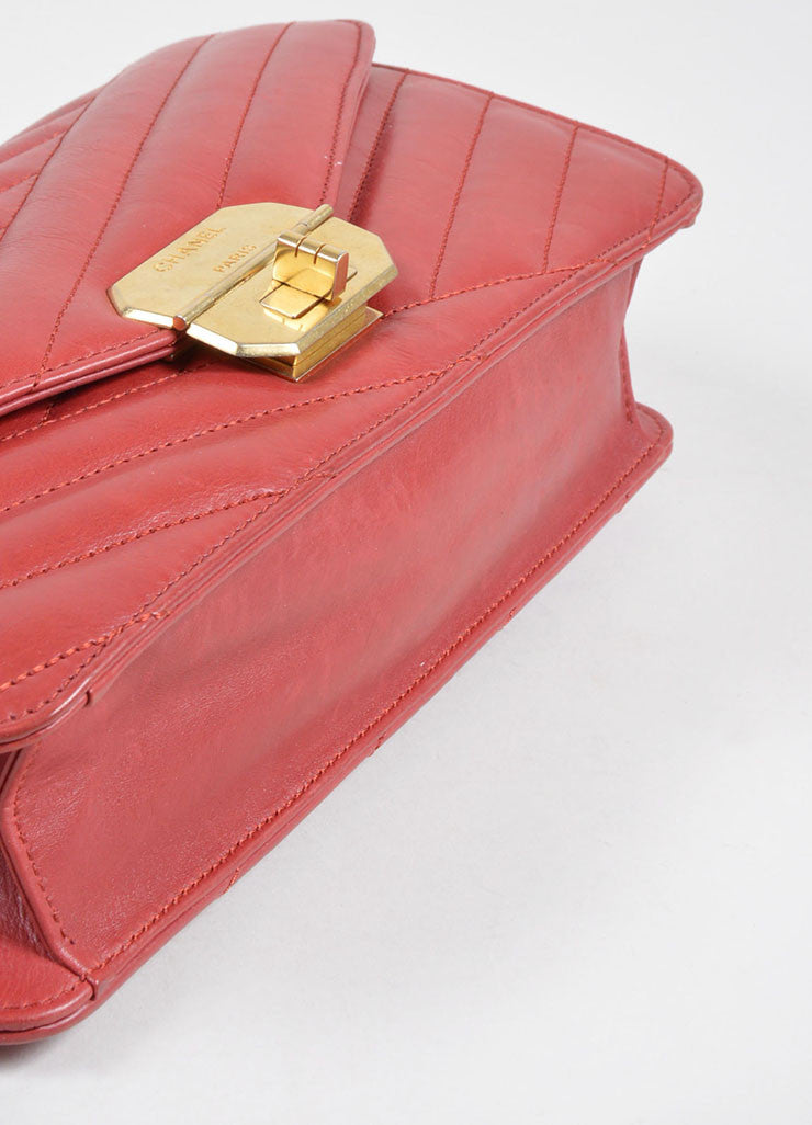 Red Leather Gold Toned Chanel Diagonal Stitched Reissue Flap Shoulder Bag Bottom View