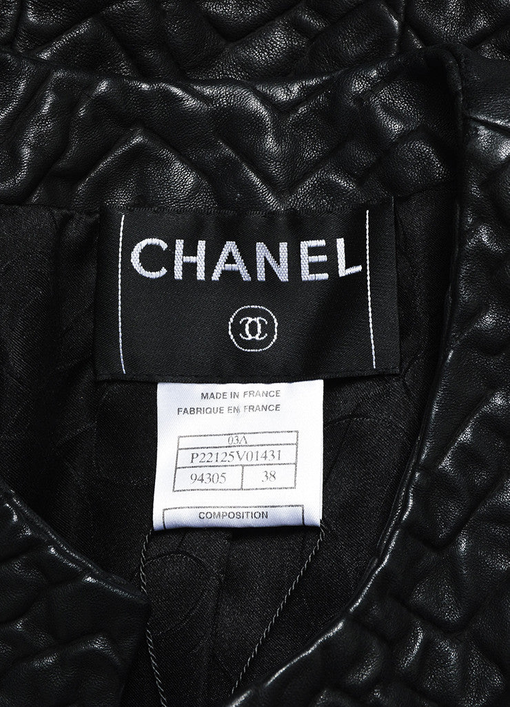 Black Chanel Textured Leather Collarless Cropped Jacket Brand