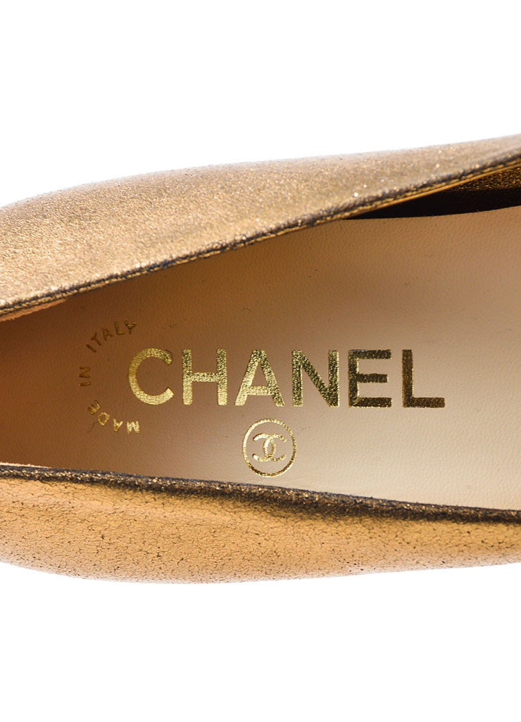 Bronze Chanel Leather Metallic Foil 'CC' Pointed Pumps Brand