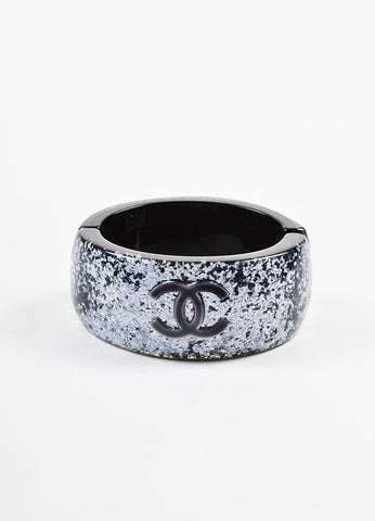 Chanel Black and Silver Lucite 'CC' Glitter Embellished Bangle Bracelet Frontview