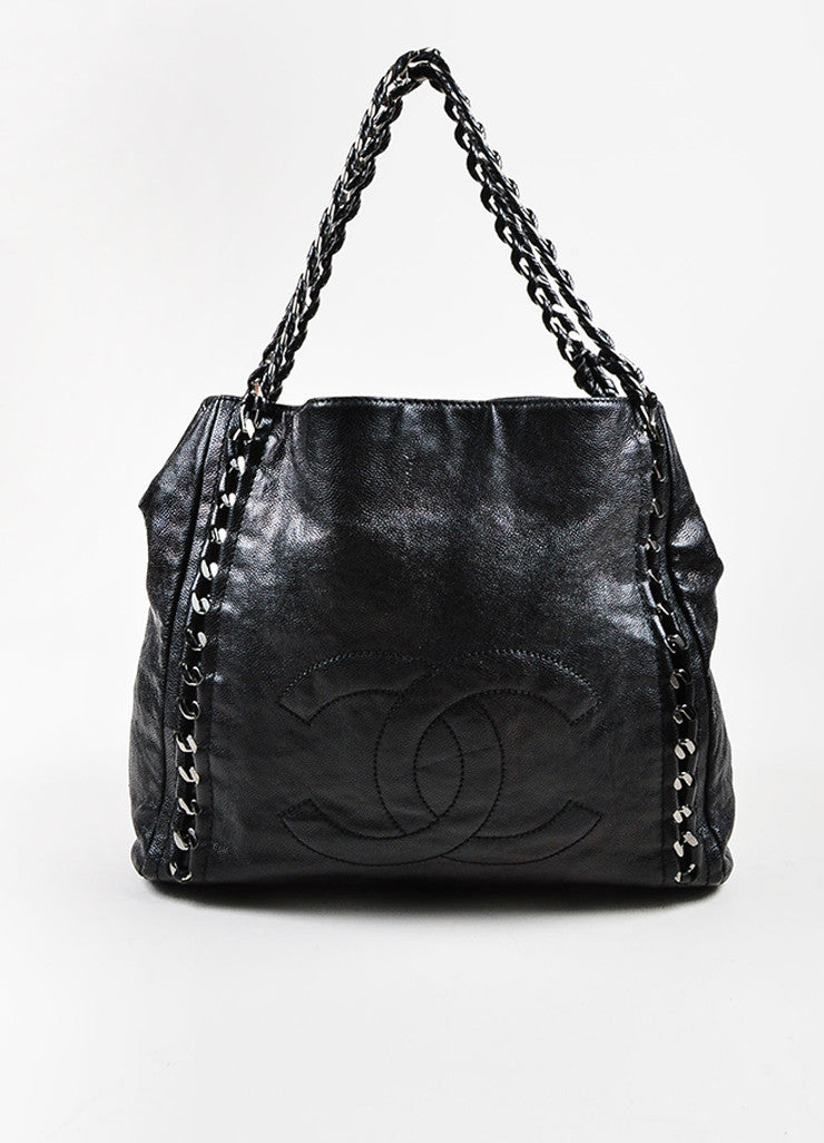 "Black Chanel Caviar Leather 'CC' Stitched ""Modern Chain"" Tote Bag"